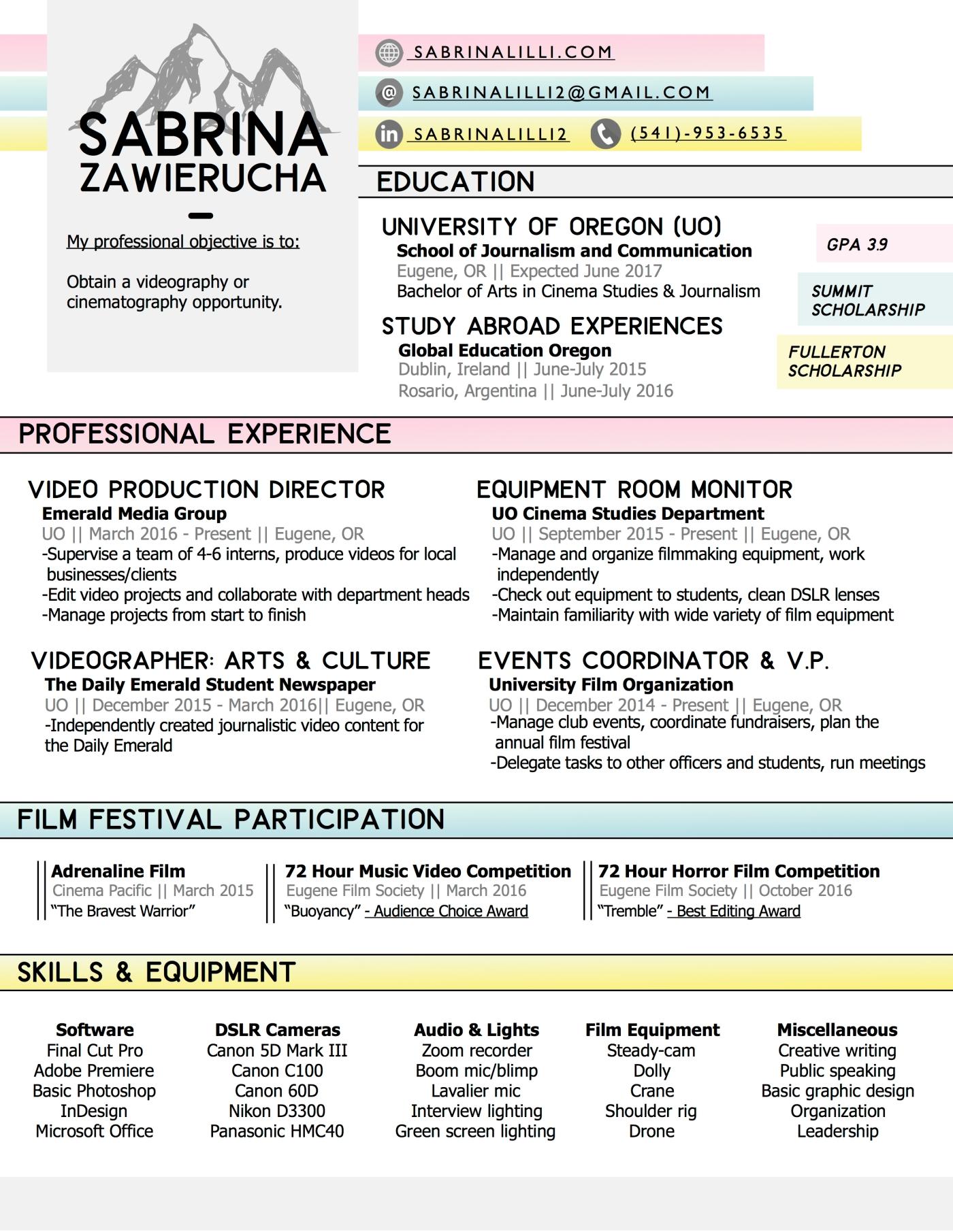 resume sabrina lilli creative portfolio